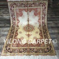 Yilong 4'x6' Antique Handmade Area Rug Top Classic Hand Knotted Silk Carpet 064a