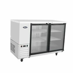 Atosa Usa Mbb48ggr 48 Two Section Back Bar Cooler With Glass Door 13.4 Cu. Ft.