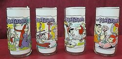 Vintage Flintstones The First 30 Years Hardees 1991 Drinking Glasses Lot Of 4