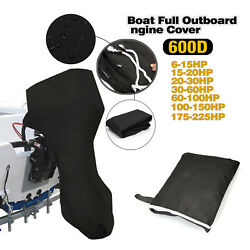 600d Black Waterproof Outboard Polyester Boat Engine Motor Cover Up To 6-225hp