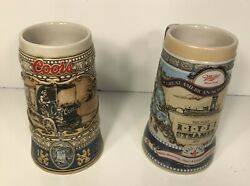 Coors And Miller High Life 1989 Beer Steins / Mugs