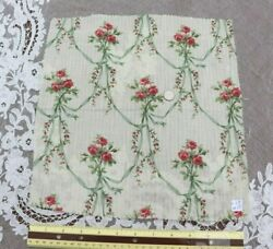 French Antique C1870 Pink Roses Green Ribbons Cotton Fabricl-13 X W-12