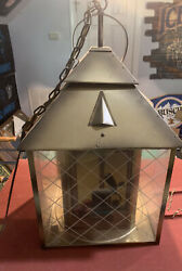 50s 60s Schlitz Beer Metal And Glass Lantern Lighted Extremely Rare 26x14x14