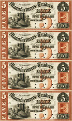 5 Manufacturers And Traders Bank Buffalo Ny Obsolete Currency Sheet Reproduction