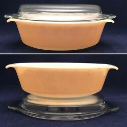 Fire King 433 Copper Tint Oval Casserole With Clear Glass Lid Usa 1 1/2 Quart