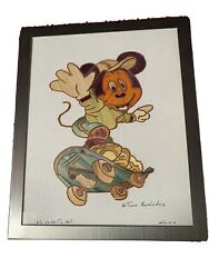 Mexican Arturo Hernandez Straw Art Mickey Mouse Framed And Signed. Very Nice
