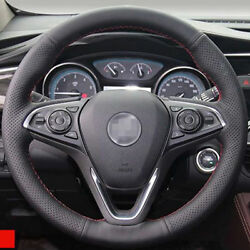 Anti Slip Black Leather Hand Sewing Steering Wheel Cover For Buick Envision
