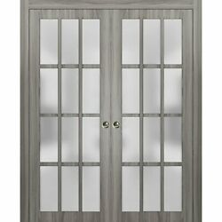 48 X 80 Sliding Double Pocket Doors Frosted Glass | Felicia 3312 Ginger Ash