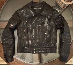 Black Label Womens Sz Small 100 Leather Quilted Moto Jacket Italy