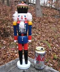 Nwob Christmas Wood Nutcracker Soldier Guard Blue 15 Tall Holiday Decoration