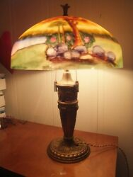 Spectacular Antique Reverse Painted Glass Lamp 16 Diameter - 24 Tall -1920s