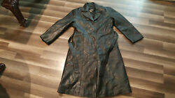 K-oss Original Leatherwear Womenandrsquos Black Button Up And Belted Xl Size Leather Coat