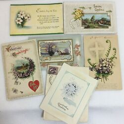 Antique Greeting Cards Postcards Valentines New Years Easter, Lot Of 6 Free Ship