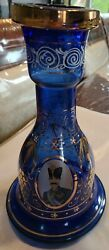 Vintage Hookah Bong Vase Blue Glass With Gold Hand Crafted Turkish 250.