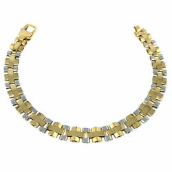 14k Yellow And White Gold Railroad Link Mens Bracelet 8.25