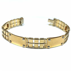 14k Yellow And White Gold Railroad Rolex Mens Bracelet 8.5