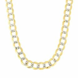 14k 2 Tone Yellow And White Gold Curb Chain Necklace 7mm
