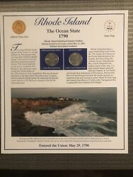 2001 Rhode Island State Info P And D Statehood Quarters With Stamps Panel New