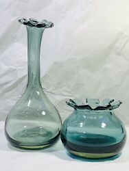 Set Of Two Grey- Green Glass Vases With Crenellated Rims By Barovier And Toso
