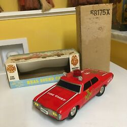 Alps Chevrolet Impala Battery Operated Fire Chief Car Tin, Fully Working W/box