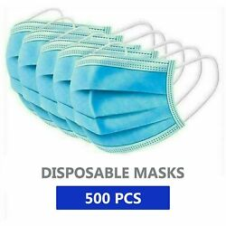 Disposable Face Mask 3 Ply Earloop Mouth Cover Medical Surgical 50 Pcs X 10 Box