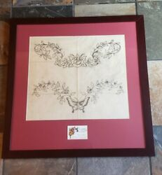 Sailor Jerry Collins Flash Drawing Tattoo Hand Drawn Color Signed 2 Backpiece