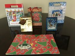 Christmas Gift Bags In Various Sizes And Images- Lot Of 6