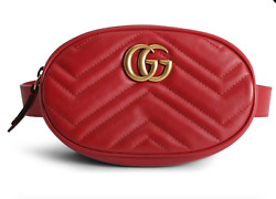 Gucci Marmont Red Leather Matelasse Gold GG Logo Fanny Pack Waist Belt Bag 85 34