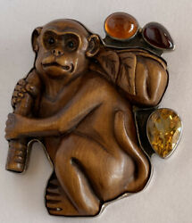 Amy Kahn Russell Akr Carved Wooden Monkey Sterling Silver Pendant Or Pin W/ Gems