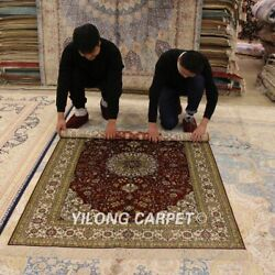 Yilong 4and039x6and039 Red Antique Silk Hand Knotted Great Classic Area Rug Carpets 876b