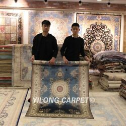 Yilong 4and039x6and039 Blue Pure Silk Handmade Area Rug Handwork Antique Porch Carpet 001a