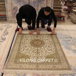 Yilong 4'x6' Beige Silk Hand Knotted Classic Area Rug Handwoven Home Carpet 109b