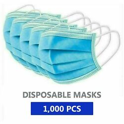 1000 Disposable Face Mask Adult Protective 3 Layer Ear Loop Mouth Cover Filter