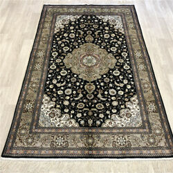 Yilong 4'x6' Green Handmade Carpet Classic Style Hand Knotted Silk Area Rug 260a