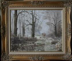 Huntsmen On Horses With Dogs A Forest Interior Indsj/s D Booth Oil Painting 1988