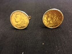 14kt Custom Cuff Links With Plain Smooth Bezel And 1930 20 Swiss Franc Gold Co