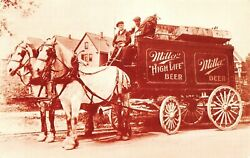 Miller High Life Early Delivery Beer Wagon Milwaukee,wi Vtg 1980's Postcard