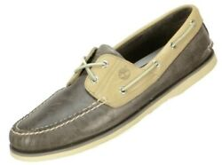 Timberland Mens Classic 2 Eye Boat Shoes Size 13M GreyBeige Leather Loafers