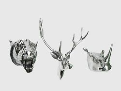 Metal Wall Mounted Stag Head With Lion And Rhino Head Deer Antelope