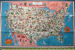 Rare 1939 Greyhound Bus 12x19 Good-natured Pictorial Map United States