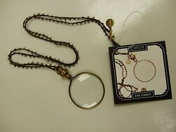 Ohbon Necklace Eye Candy Brass Magnifying Glass Vintage Artist Made