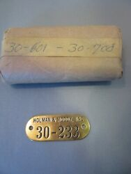 100 Vintage Holman Moody Racing Brass Inventory Tags Consecutive Numbers Rare