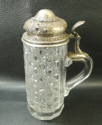 Antique Austria cut crystal Lidded Steins Glass Beer Mug wsterling Silver lid