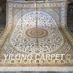 Yilong 8'x10' Big Hand Knotted Silk Carpet White Handmade Area Rug Store W184c