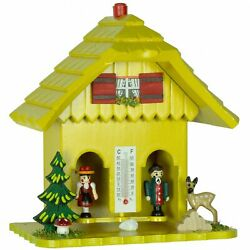 German Black Forest Weather House Yellow Tu 73 Gelb New