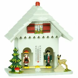 German Black Forest Weather House White Tu 73 Weiss New
