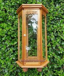 Small Curio Cabinet Hexagon Glassed Display Cabinet Figure Antique Display Case