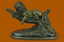 Lion Resting Bronze Sculpture And Marble Base Figurine Figure Clearance Sale T