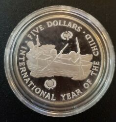 1983 Silver Solomon Islands Proof 5 Year Of The Child Coin In Capsule
