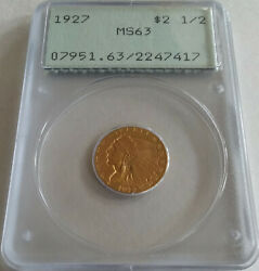 ✰ 1927 Terrific 2 1/2 Gold Indian Quarter Eagle Coin Pcgs Ms63 Undergraded Ogh✰